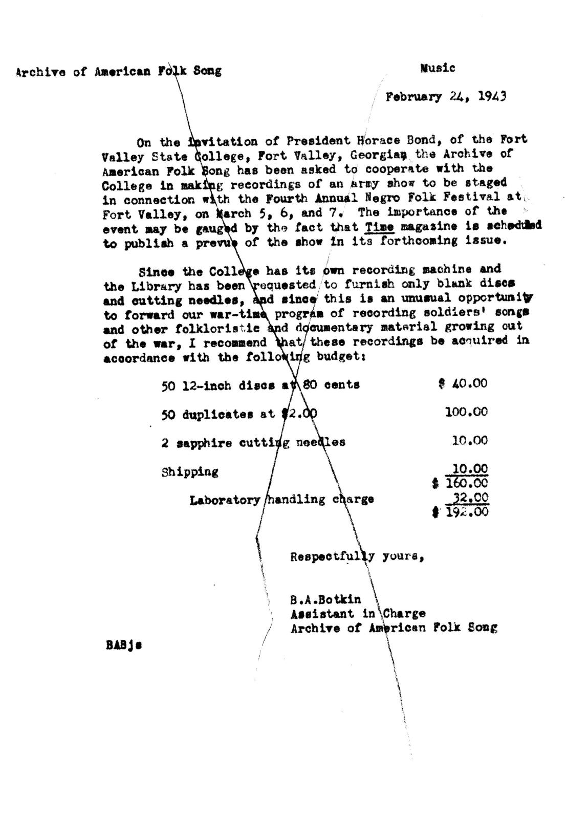 February 24, 1943, draft of memo by B.A. Botkin