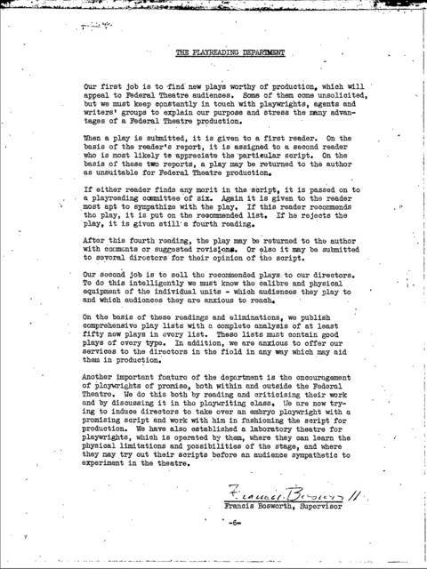 Federal Theatre Project - Reorganization of the Play Bureau (formerly Bureau of Research and Publication) - September 1936