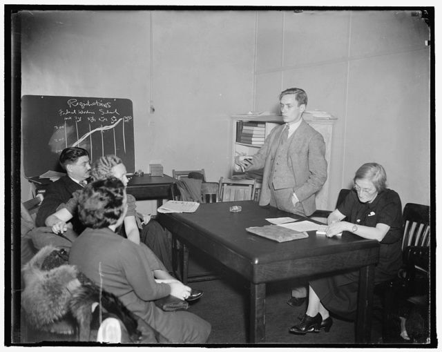 Federal workers school. Arthur Goldschmidt, executive officer of the new federal workers school, outlines plans for the new project to Educational Committee of the United Federal Workers of America. 11/30/37