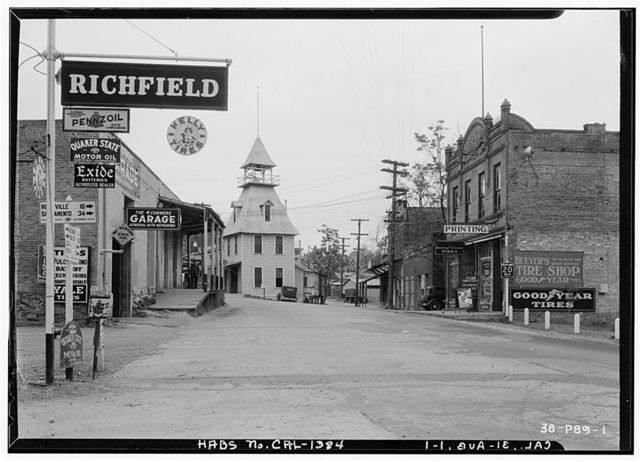 Fire House & Commercial Buildings, Grass Valley & Sacramento Roads, Auburn, Placer County, CA