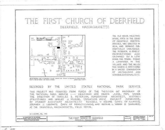 First Church of Deerfield, Old Deerfield Street, Deerfield, Franklin County, MA