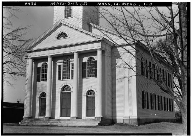 First Parish Church (Unitarian) & Carriage Shed, Maple & Elm Streets, Mendon, Worcester County, MA