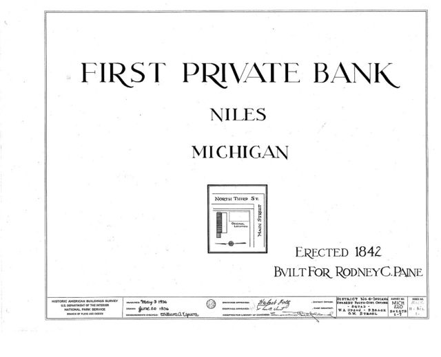 First Private Bank, 212 West Third Street, Niles, Berrien County, MI