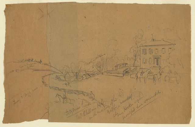 Fitz P[...] house McClellan's H.Q. on the morning of the battle, Wensday [sic], Gen. Hooker was brought here wounded