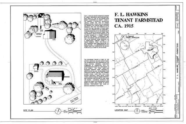 F.L. Hawkins Tenant Farmstead, 0.65 miles northeast of the intersection of Arrowhead and Old Buena Vista Roads, Waxahachie, Ellis County, TX