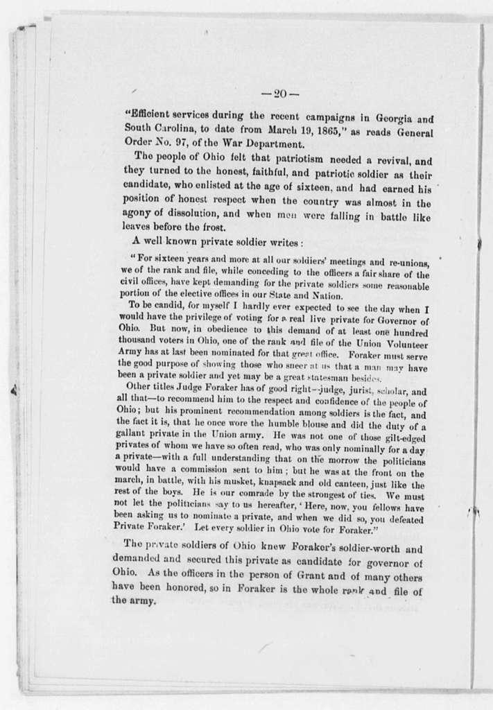 Foraker, Joseph Benson - Folder 1 of 2