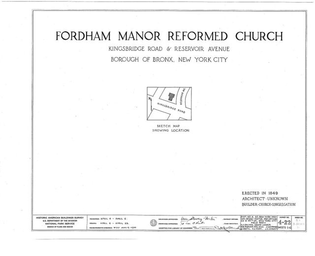 Fordham Manor Reformed Church, 71 Kingsbridge Road & Reservoir Avenue, Bronx, Bronx County, NY