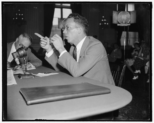 """Former member of German bund tells of his experiences in organization. Washington, D.C., Aug. 12. Testifying before the Special House Committee investigating un-American activities, Peter P. Gissibl, German-born ex-fuerher of the Chicago Post of the bund, told why he resigned last May after a disagreement with Fritz Kuhn, over the organization's policies. """"I didn't want to be so radical on some points"""", Gissbl said. """"For instance, the Jewish question, and working with German-American organizations,"""" 8/12/38"""