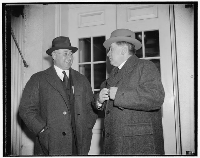 Former president of Chile visits president. Washington, D.C., Nov. 1. Arturo Alessandri, right, former president Chile, leaving the White House today after a call on President Roosevelt with Alfonso Grez, former Chilean Consul General in New York City