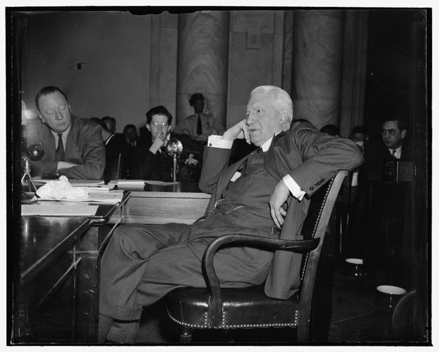 Former Secretary of State warns Senate against broad presidential discretion in foreign affairs. Washington, D.C., May 4. Appearing before the Senate Foreign Relations Committee today, Bainbridge Colby, Secretary of State in President Wilson's cabinet, warned against broad presidential discretion in foreign affairs and advocated strict adherence to international law