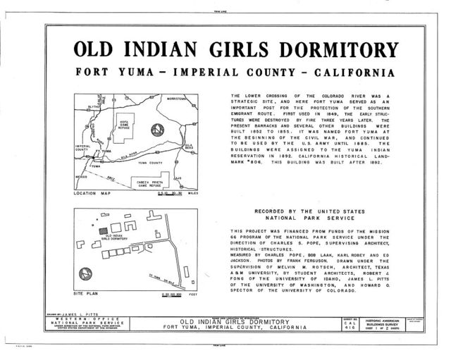 Fort Yuma Old Indian Girls' Dormitory, Yuma Indian Reservation, Winterhaven, Imperial County, CA