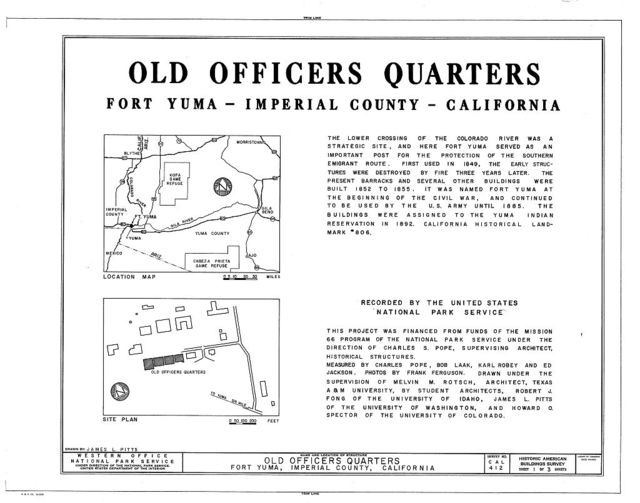 Fort Yuma Old Officers' Quarters, Yuma Indian Reservation, Winterhaven, Imperial County, CA