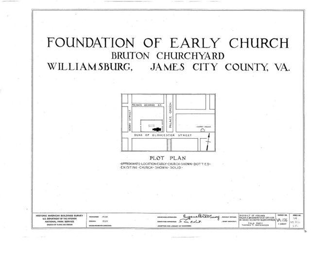 Foundation of Early Church, Bruton Parish Churchyard, Williamsburg, Williamsburg, VA