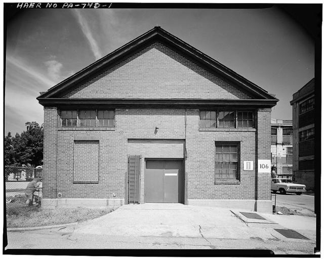 Frankford Arsenal, Building No. 106, South of Tacony Street between Bridge Street & tracks of former Pennsylvania Railroad, Philadelphia, Philadelphia County, PA