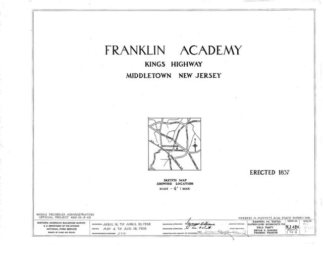 Franklin Academy, King's Highway, Middletown, Monmouth County, NJ