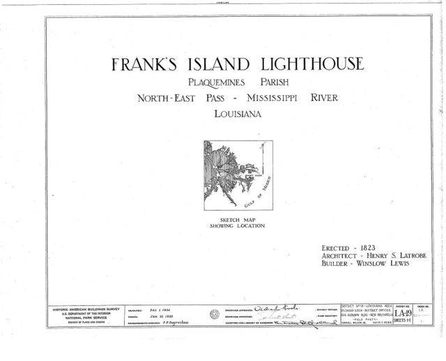 Frank's Island Lighthouse, North East Pass, Mississippi River, Boothville, Plaquemines Parish, LA