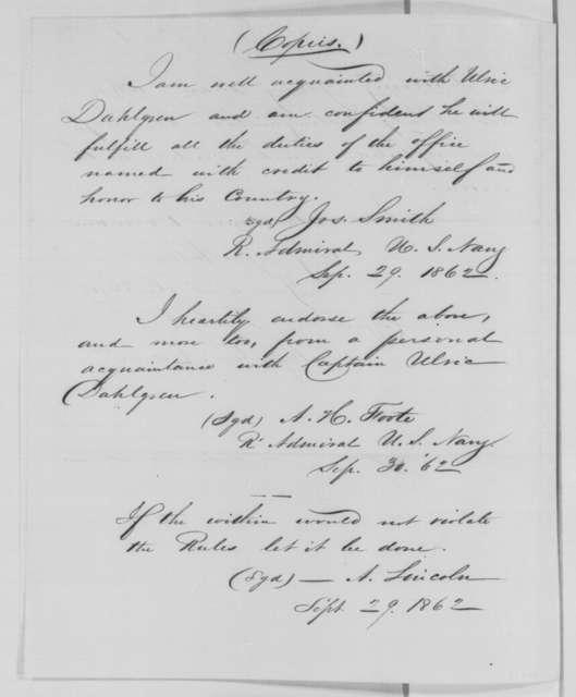 Franz Sigel to Unknown, September 27, 1863  (Recommendation for Ulric Dahlgren; endorsed by Lincoln, et al.)