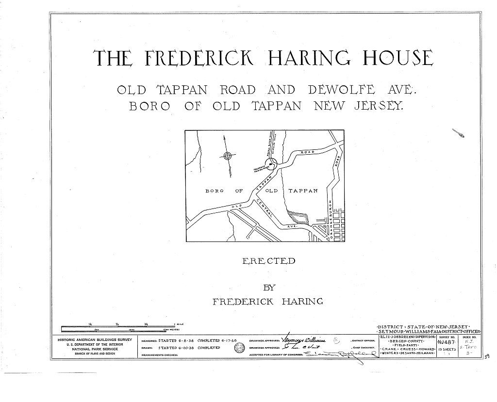 Frederick Haring House, Old Tappan & DeWolfe Roads, Old Tappan, Bergen County, NJ