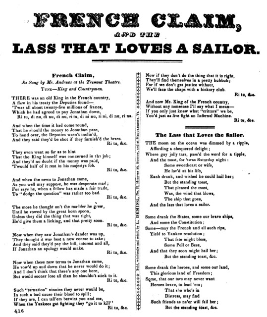 French claim, and The lass that loves a sailor. Sold wholesale and retail, by L. Deming. No. 62, Hanover St. Boston, and at Middlebury, Vt