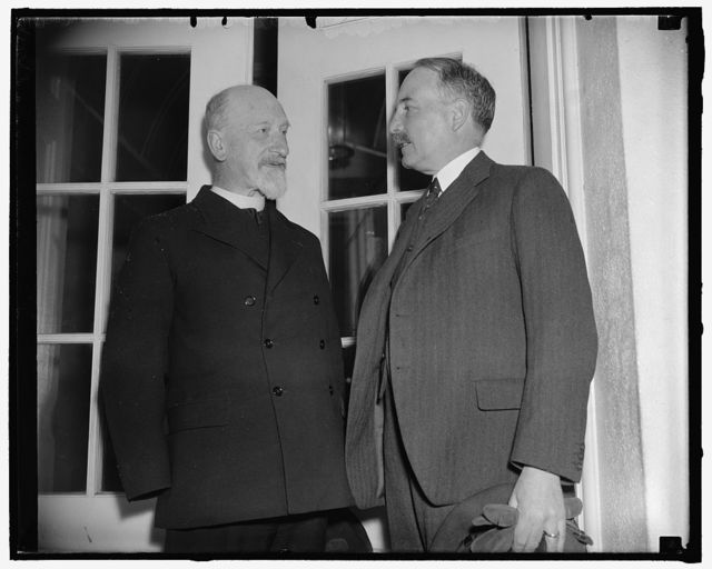 French priest tells Roosevelt of war horrors. Washington, D.C., May 26. Father R. Jacquinot De Basengers, French priest attached to the International Red Cross at Shanghai, today told President Roosevelt of the suffering among Chinese refugees on the area of the undeclared war in the Far East. In this country to aid in the drive for funds to aid the refugees, the priest was accompanied to the White House by the French ambassador Count Rene Saintquentin, 5/26/38