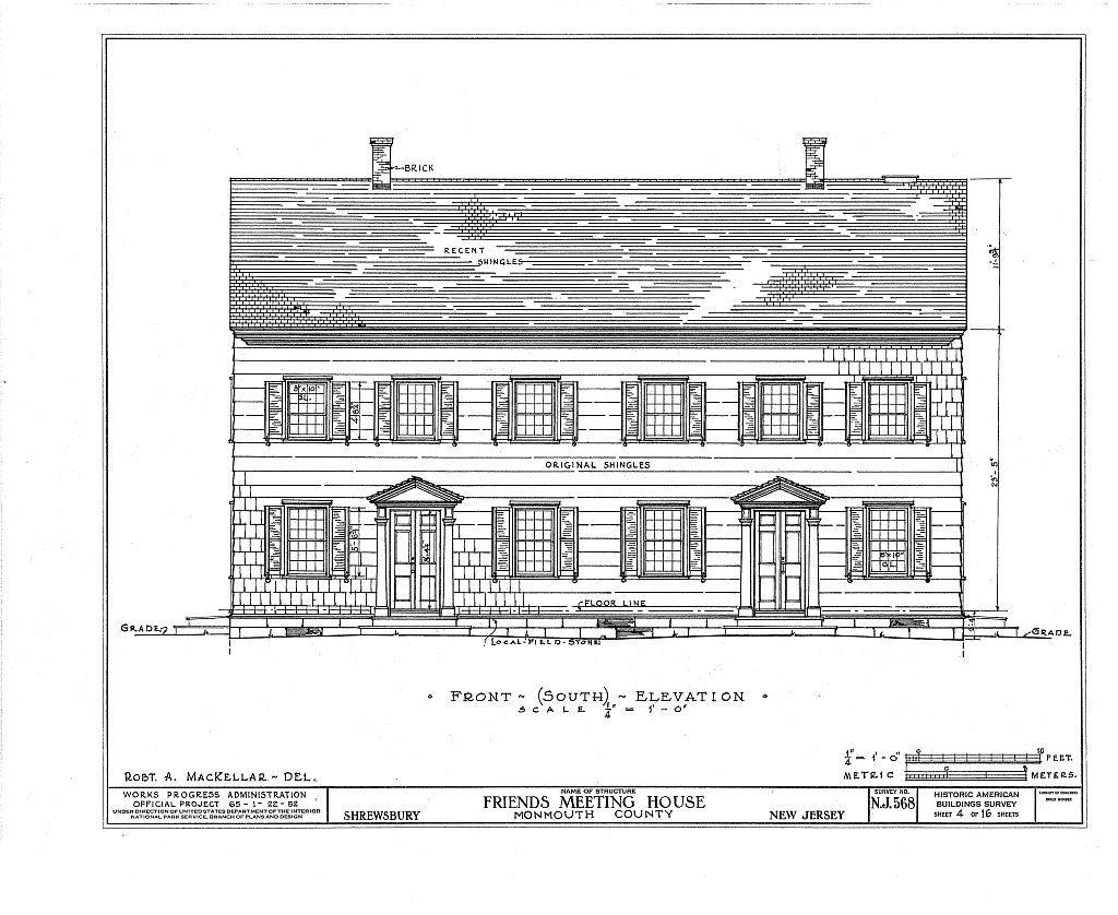 Friends Meetinghouse, Sycamore Avenue, Shrewsbury, Monmouth County, NJ