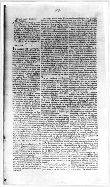 From the Albany Centinel. Mr. Andrews: By publishing the annexed copy of a letter from a gentleman of information and veracity, containing a correct statement of the origin and progress of the controversy between his Excellency the Governor and