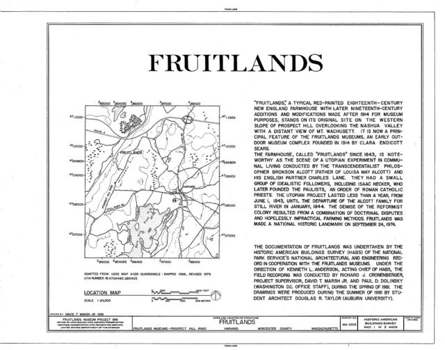 """Fruitlands"", Fruitlands Museum, Prospect Hill Road, Harvard, Worcester County, MA"