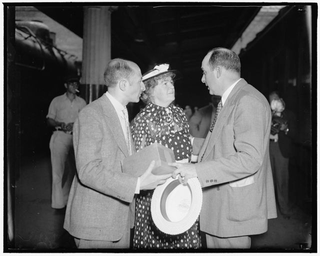 Funeral services for Congressman Connery. Washington, D.C. June 16. Friends and relatives of the deceased Chariman of the House Labor Committee, Rep. William Connery, Mass, photographed at the Union Station today as they boarded a train for Lynn, Mass. To attend funeral services for Rep. Connery. Left to right: Samuel Rose, of the Veterans Administration, Congresswoman Edith Nourse Rogers, Mass. and his brother Lawerence Connery, who also was Sec. to the deceased.
