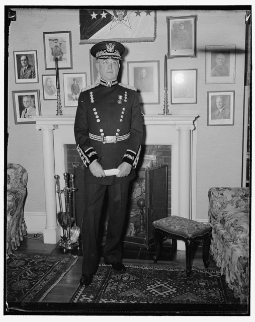 Gen. Craig in new dress uniform. Washington, D.C., Feb. 25. Resplendently attired in his new midnight blue and gold dress uniform, Gen. Malin Craig, Chief of Staff, last night inaugurated his attire at the President's Reception. The new dress uniform pictured is the only self designed uniform permitted in the Army