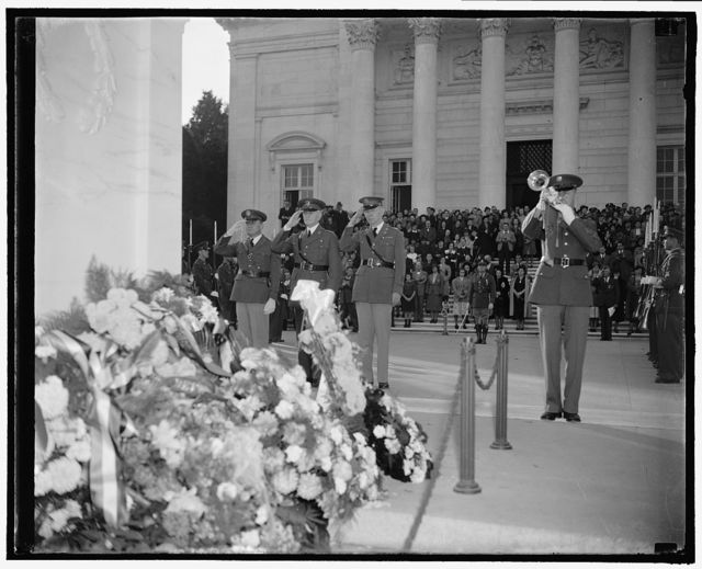 Gen. Pershing pays homage to Unknown Soldier. Washington, D.C., Nov. 11. General John J. Pershing, AEF Commander, did not forget his buddies who gave their all 'over there' as the 20th anniversary of the signing of the Armistice was observed today. Armistice Day. Hale and hearty again, he journeyed to Arlington National Cemetery where he placed a wreath on the Tomb of the Unknown Soldier. The General is pictured in center flanked by Lieut. Col. Emil F. Reinhardt, left, and Capt. G.E. Adamson, his longtime Secretary, 11/11/38