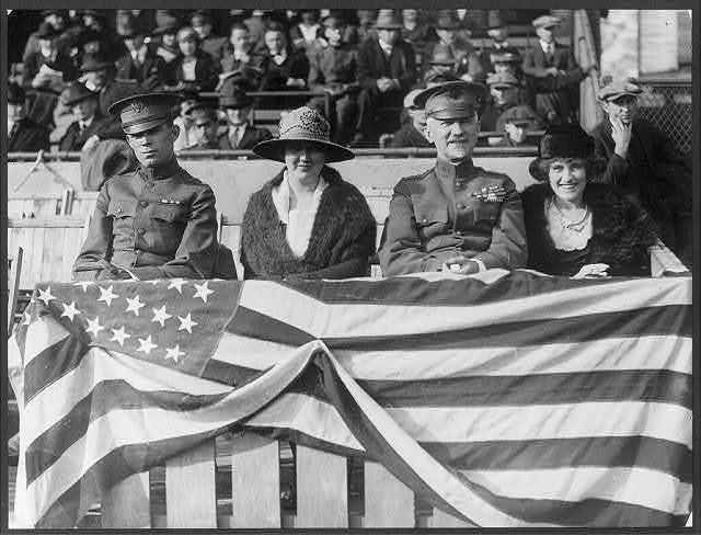 General Peyton March and family ... at the Georgetown, Washington and Lee football game ... Left to right: Major and Mrs. Milliken, Gen. March and Mrs. E.C. Scanlon