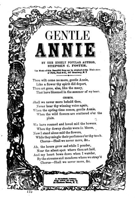 Gentle Annie. By Stephen C. Foster. H. De Marsan. No. 54 Chatham Street. N. Y