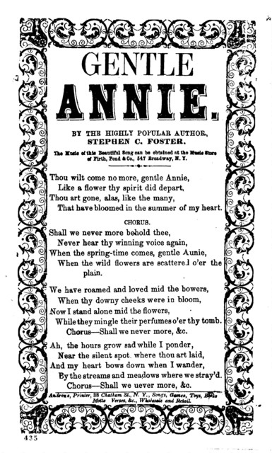 Gentle Annie. By the highly popular author, Stephen C. Foster. Andrews, Printer, 38 Chatham St., N.Y