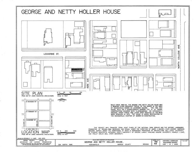 George & Netty Holler House, 324 North Park Avenue, Indianapolis, Marion County, IN