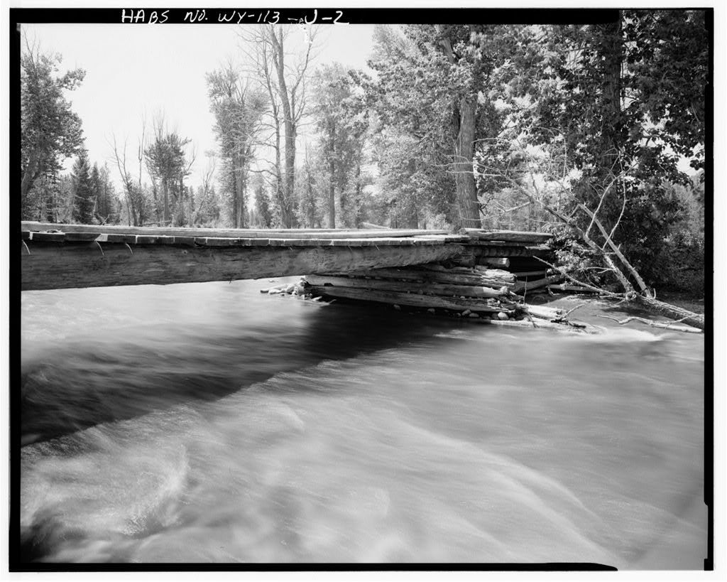 Geraldine Lucas Homestead, Bridge, West bank Cottonwood Creek, 2.5 miles downstream from Jenny Lake, Moose, Teton County, WY