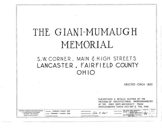 Giani-Mumaugh Memorial, Main & High Streets, Lancaster, Fairfield County, OH
