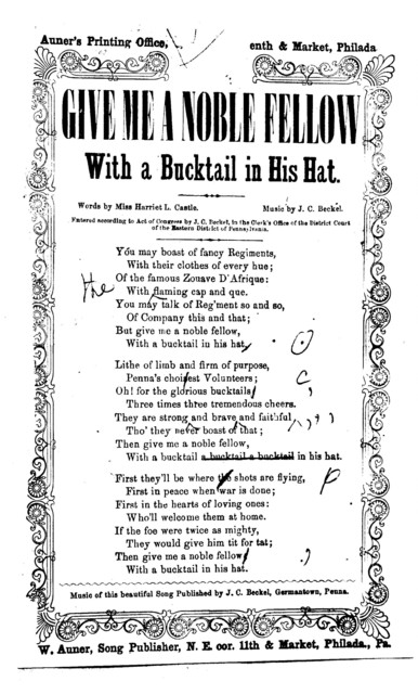 Give me a noble fellow with a bucktail in his hat. A. W. Auner, Song Publisher, Philadelphia, Pa