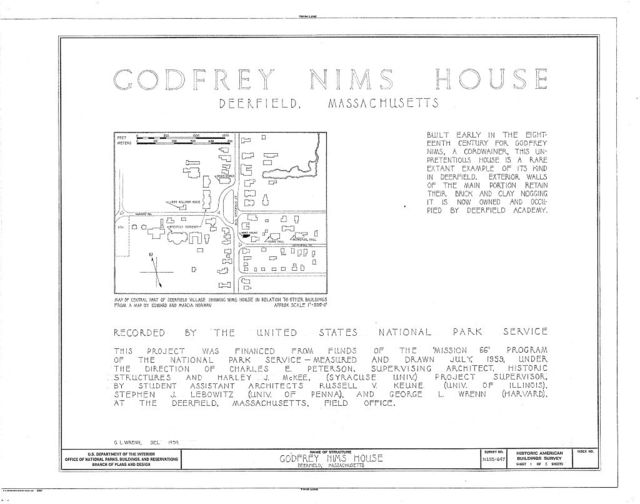 Godfrey Nims House, Old Deerfield Street & Memorial Road, Deerfield, Franklin County, MA