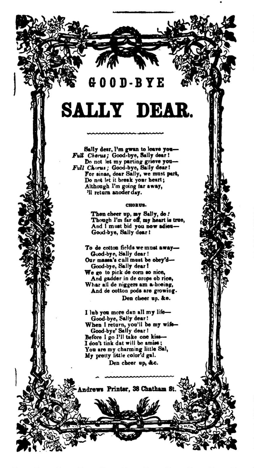 Good-bye Sally dear. Andrews, Printer, 38 Chatham St., [N. Y.]