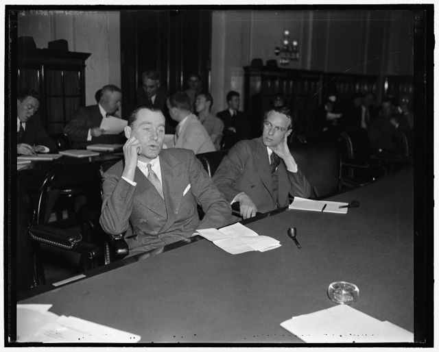 Governor of Rhode Island testifies before Senate Wire Tapping committee. Washington, D.C., May 28. Governor William H. Vanderbilt of Rhode Island, today told the Senate Wire Tapping Committee that he secretly engaged Frank B. Bielaski, New York private detective, to conduct an investigation in his state because of 'dissatisfaction' with prosecution of election fraud cases by his Attorney General. Vanderbilt, left, is shown with his counsel Horace Weller
