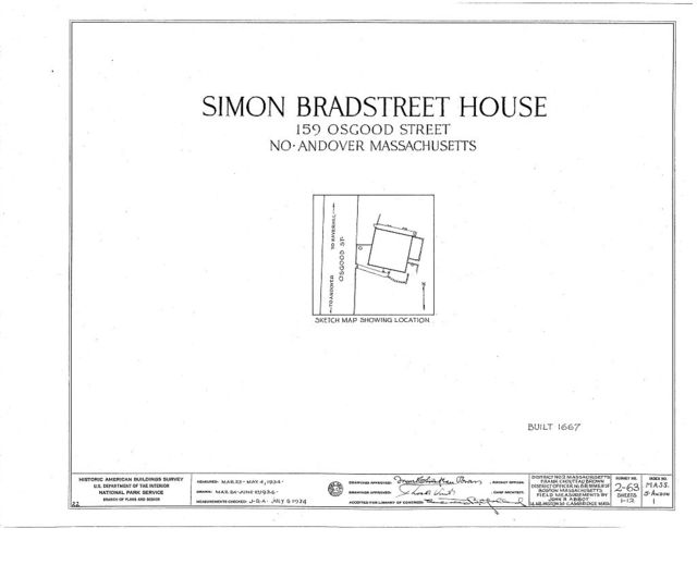 Governor Simon Bradstreet House, 159 Osgood Street, North Andover, Essex County, MA