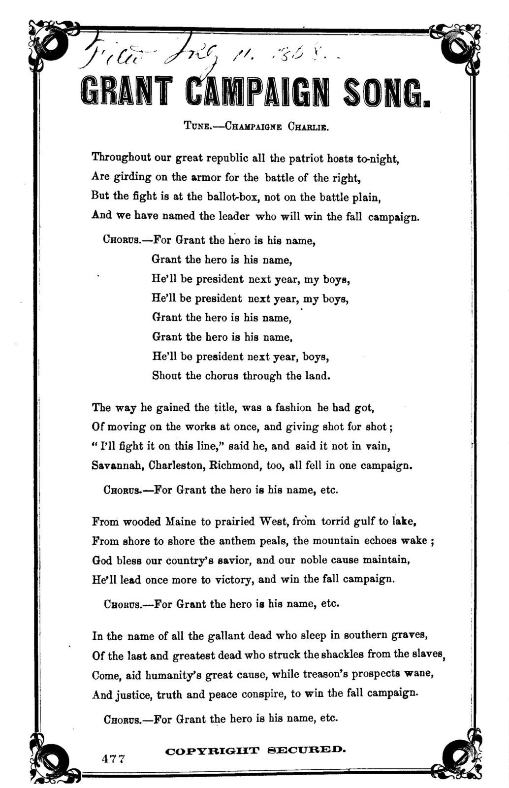 Grant campaign song. Tune.- Champaigne Charlie