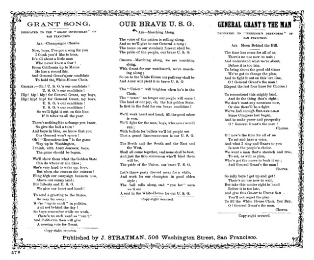Grant song. Published by J. Stratman, 506 Washington Street, San Francisco. [. d. ]