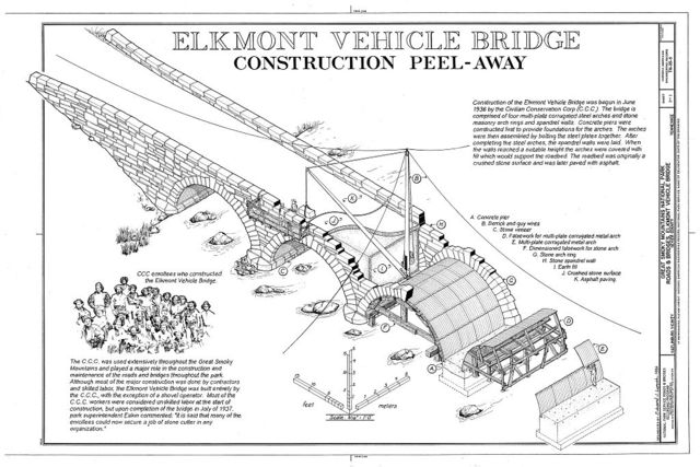 Great Smoky Mountains National Park Roads & Bridges, Elkmont Vehicle Bridge, Spanning Little River at Elkmont Campground, Gatlinburg, Sevier County, TN