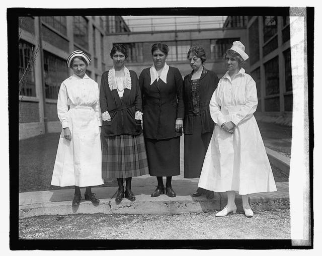 [Group of two nurses and three women], 3/14/23