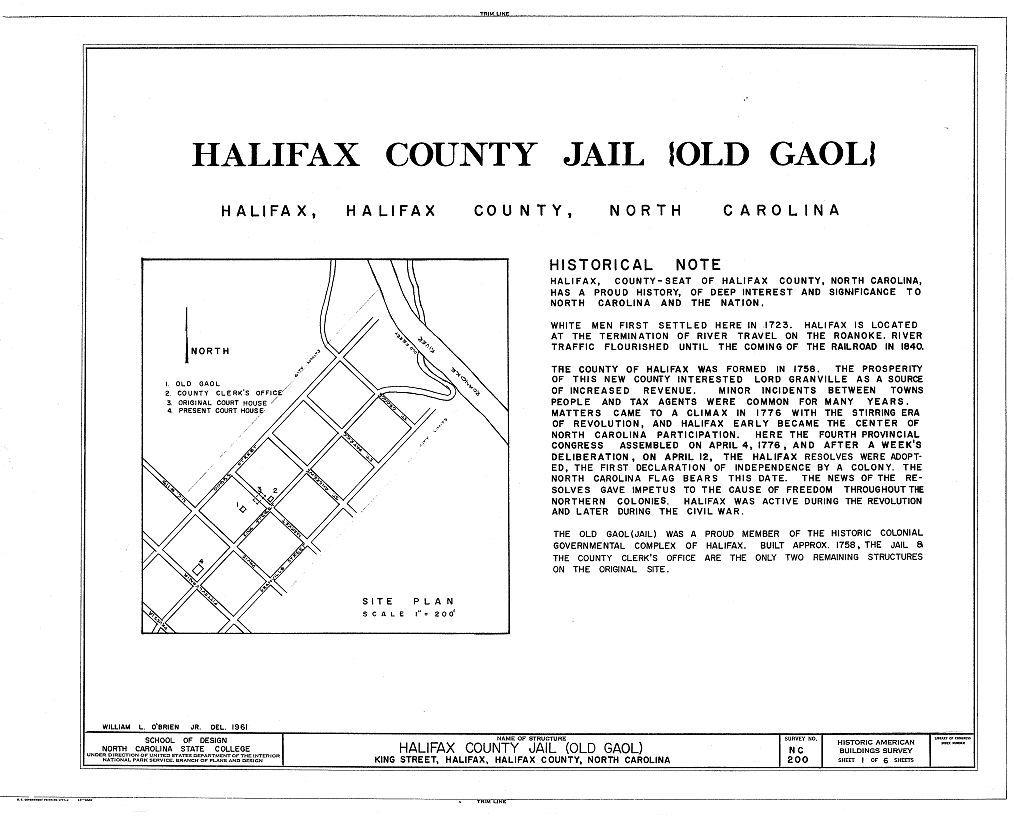 Halifax County Jail, King Street, Halifax, Halifax County, NC