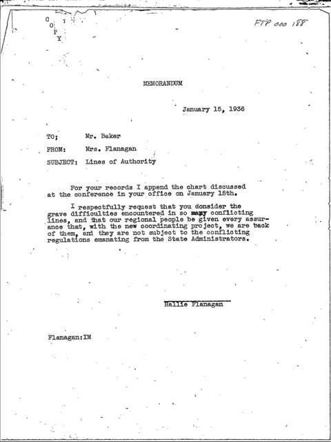Hallie Flanagan - Memoranda on Lines of Authority, January 15, 1936