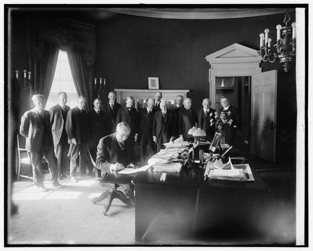 Harding signing Agrl. Bill, 2/18/21