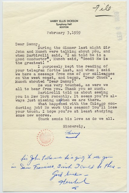 [ Harry Ellis Dickson (Boston Symphony) to Danny Kaye, February 3, 1959]