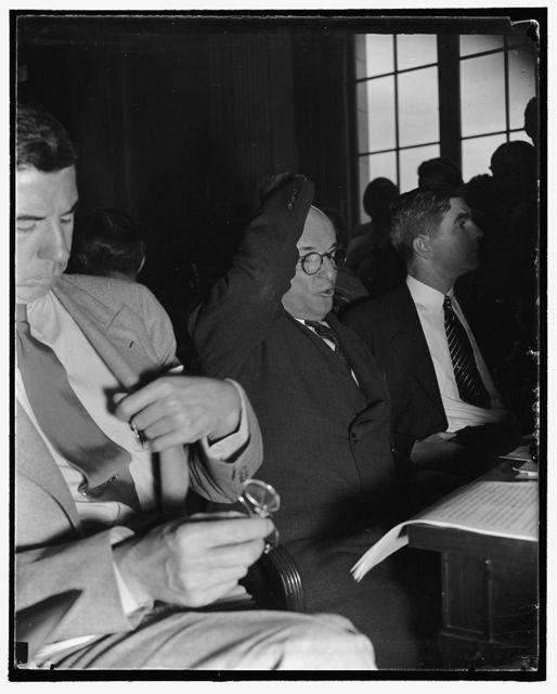 Head of Republic Steel before Senate Civil Liberties Committee. Washington, D.C., Aug. 11. Tom M. Girdler; Chairman of the Board of the Republic Steel Corp., as he appeared before the Senate Liberties Committee today, 8/11/38
